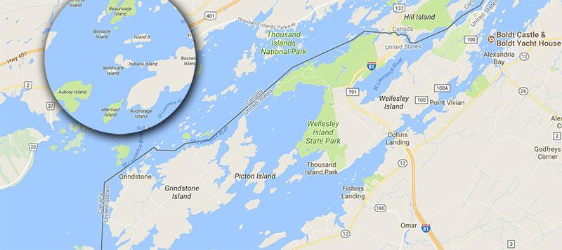 1000 Islands google maps